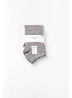 Katia Bony Run 3 lü Erkek Basic Patik Çorap - Siyah/Beyaz/Gri
